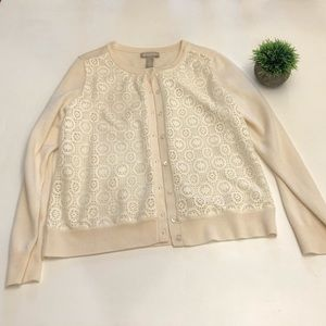 banana republic laser lace front cardigan